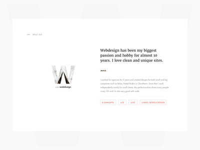 About me - what I do marble whitespace minimal white clean webdesign personal portfolio services about