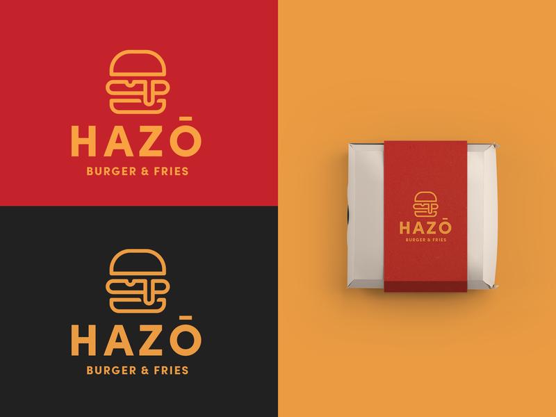 Hazō Burger & Fries - Burger Joint Logo minimal sandwich 30daychallenge logotype logo design icon burger logo logo