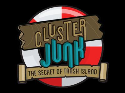 Cluster Junk game logo losttypecoop blanche agario katamari ocean trash game illustration gamedev logo