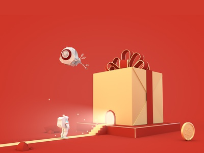 Gift space gold gift c4d airship 3d