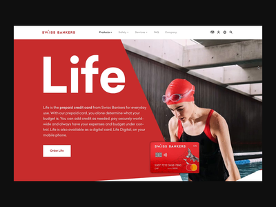 Swiss Bankers Product — Parallax Card Animation business finance website clean red banking parallax effect parallax scrolling scroll animation animation parallax