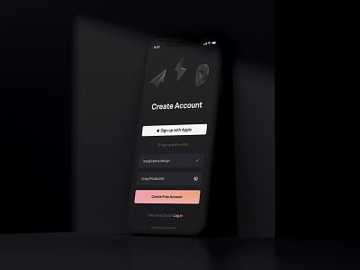 Sign up Exploration daily challenge app minimal design ux ui website clean darkmode dark ui dark signup mobile ui dailyuichallenge