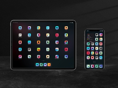 Ambient – App Icon Set for iPhone & iPad colorful ios14homescreen ios14icons iconography ambient illustration design ui icons design icon set home screen icons apps app logo appstore apple ios14