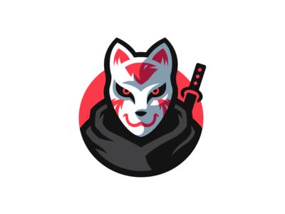 Kitsune Mascot Logo mascotlogo mascot fox cat sword katana samurai ninja warrior logo mask logo masked logo masked mask warrior japan kitsune logo