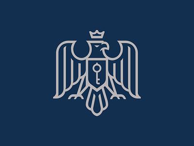 Eagle Logo Design key shield falcon bird royal crown majesty eagle logo eagle