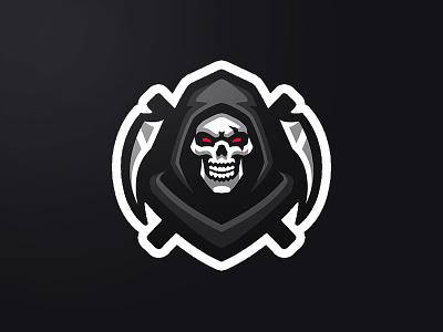 Grim Reaper Mascot Logo skeleton skull logo hoodie death scythe black reaperlogo grimlogo logo reaper mascot logo mascot grim reaper mascot logo