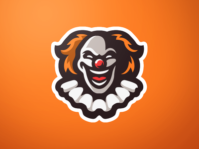 Clown Mascot Logo circus pennywise logo orange clown mascot clown logo clown clown mascot logo