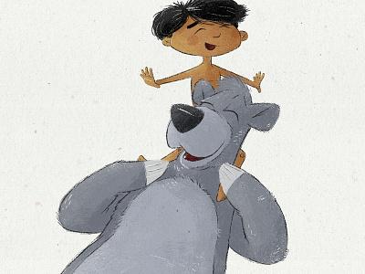Baloo and Mowgli friends drawing illustration boy disney bear