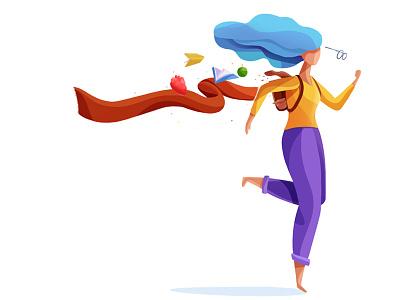 run lola run blue sketch hair vector woman hearth hipster colorful run girl