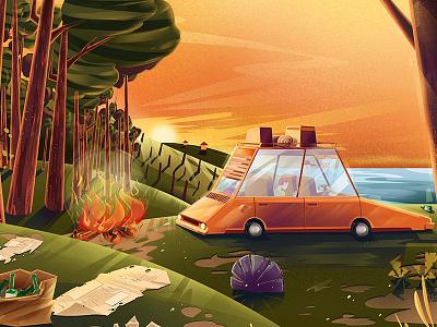 car tree food artwork artsy stillframe illustration dinner art tree stone