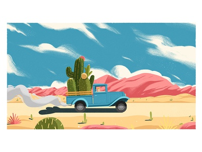 cactus car conceptart stillframe artwork vector design digitalart illustration car cactus