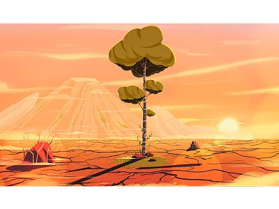 tree artsy stillframe characterdesign conceptart art vector illustration treehouse orange illustraion dry drought tree
