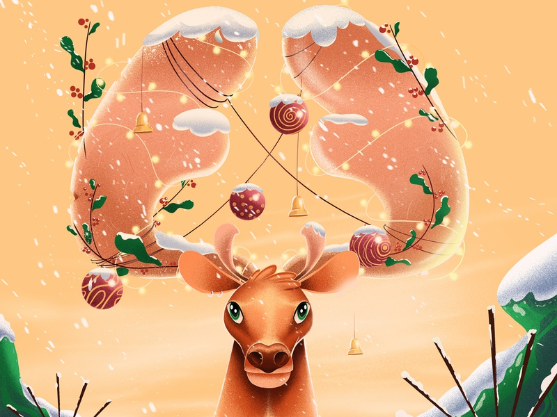 happy new year 2020 cold winter stillframe vector illustration character deer reindeer christmas new year