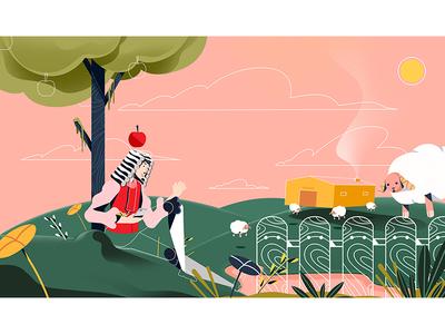 newton tree hipster stillframe character artsy characterdesign conceptart vector illustration apple sheep newton