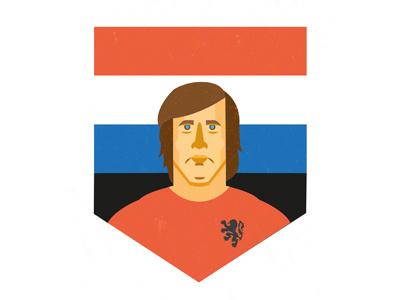 Johan Cruijff - The flying Dutchman portrait best tribute legend orange calcio soccer football cruijf flat illustration holland