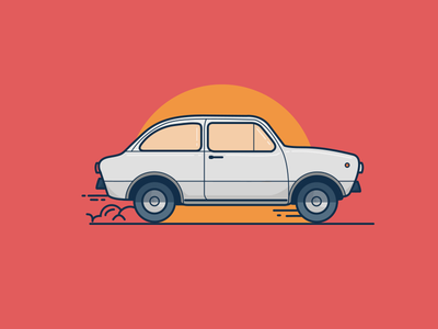 Fiat 850 white car fiat italy illustration sun vector minimal red