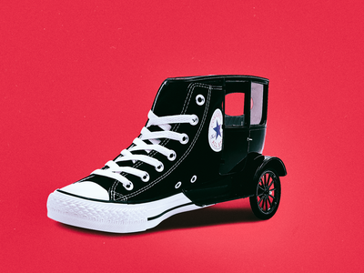 CONVERSE ALL STAR (FORD T MIX) sneaker shoes sneakers star fashion street red converse black design composition illustration art car collage minimal