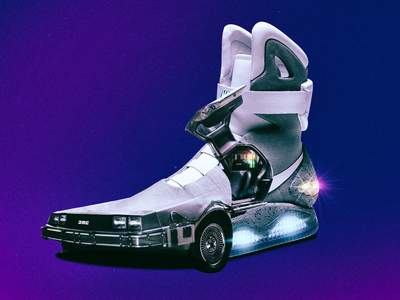 NIKE MAG (DELOREAN MIX) sneakers sneakerhead nike movie film blue future space shoes composition design italy collage car art minimal illustration