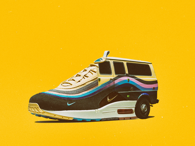 NIKE AIR MAX 97 (VAN MIX) air max style street nike van composition sneakerhead sneaker shoes yellow flat design italy illustration art car collage minimal