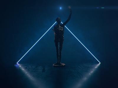 Skeleton blue statue render skeleton cgi 3d cycles blender3d