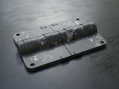 Hinge worn scratch old paint metal dof realism render cycles 3d blender