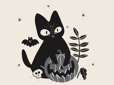 Halloweencat halloween bat pumpkin black plants art illustraion cat