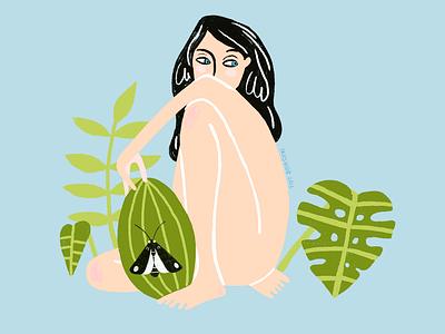 Me watermelon me girl plants butterfly black green design illustration art