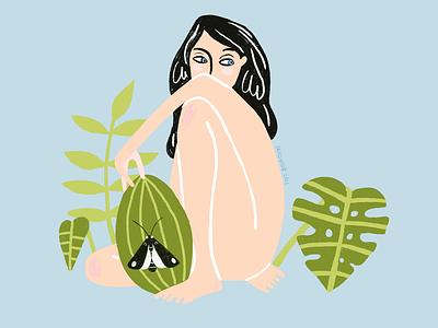 Tropical girl tropical blue 2d photoshop watermelon girl plants butterfly black green design illustration art