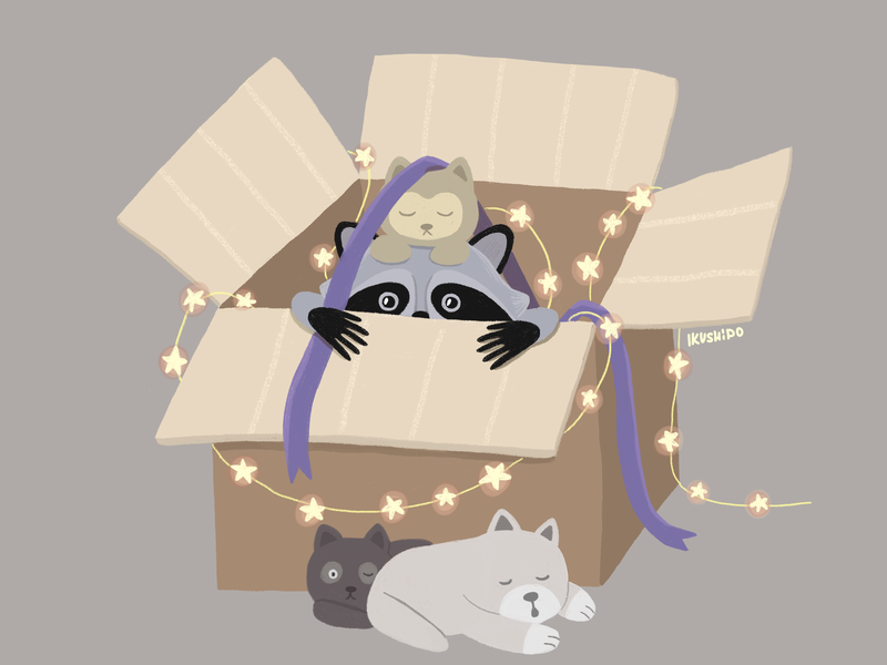 Waiting for a holiday ribbon cat dog photoshop illustrator lights light merrychristmas illustration art animal happy newyear holiday box racoon