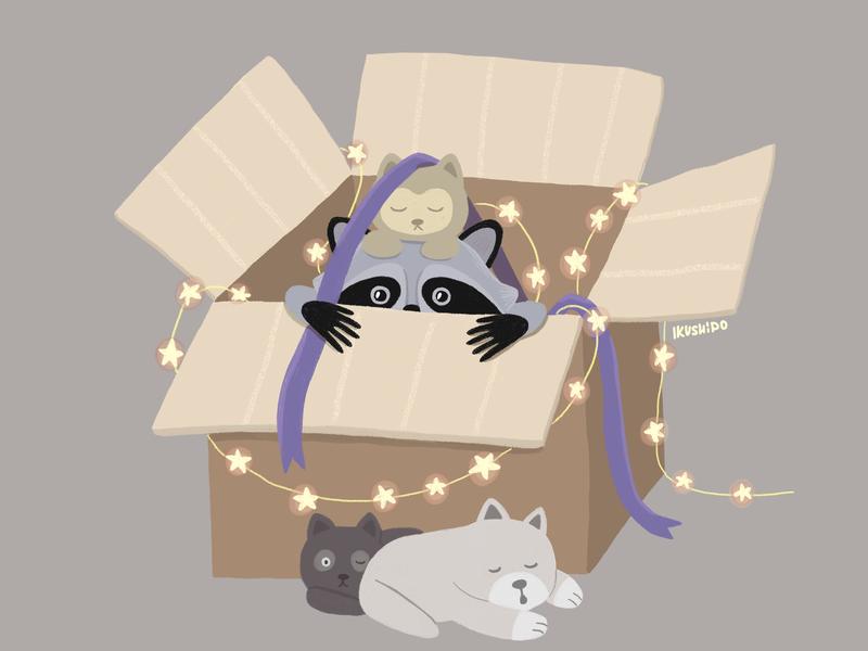 Waiting for a holiday ribbon cat dog photoshop illustrator lights light merrychristmas illustration art animal happy newyear holiday box racoon
