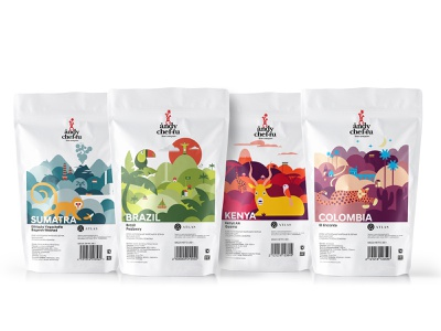 Andy Chef country typogaphy identity branding packaging design animal color package coffee art vector illustration design