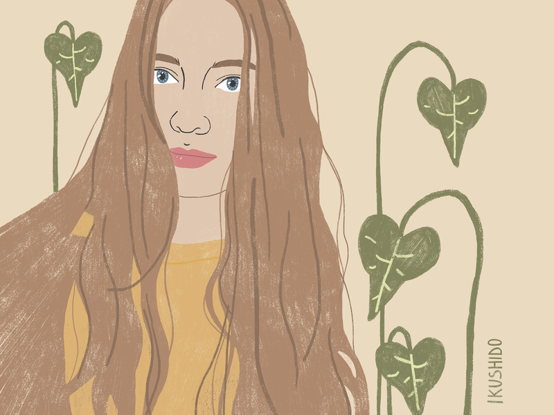 Portrait illustrator plants girl portrait plant green art illustration