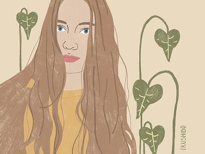 Portrait illustrator plants girl portrait plant green art illustration