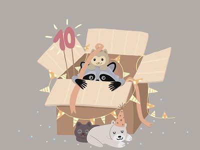Waiting for birthday kitten raccoon photoshop box puppies happy happy birthday holiday animal art illustration birthday