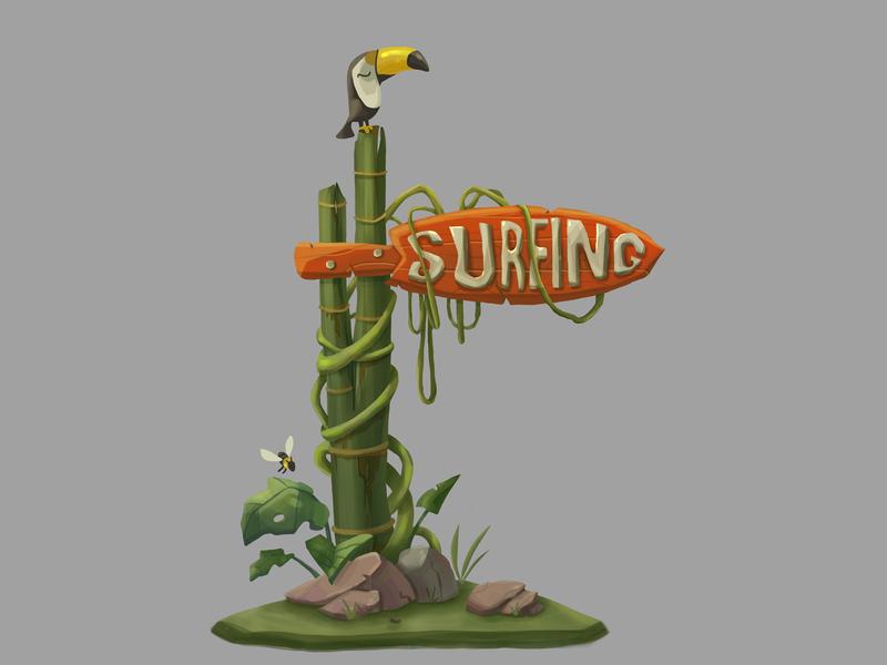 Surfing place surfing art illustrator green plants photoshop jungle signboard cgart cg 2d illustration