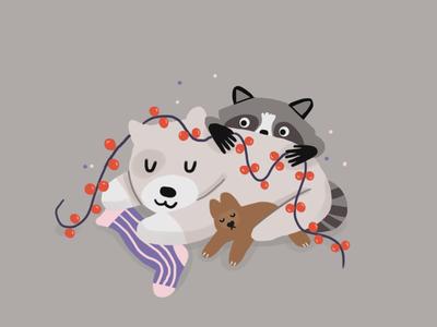 Waiting for a holiday dear illustrator doggy racoon dog new year christmas merrychristmas holiday 2d animal photoshop illustration art
