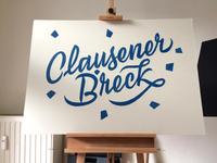 Clausener Breck Sign Painting – blue colour