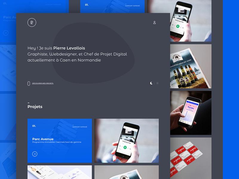 New portfolio home page dark shape grid webdeisgn blue grey adobexd