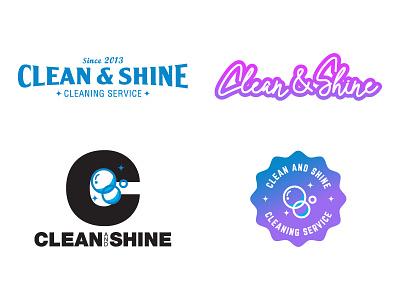 Clean & Shine Logo Options logos script vector text type badge shine clean design logo branding mikemerrilldesign
