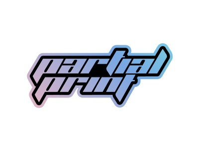 Partial Print Holographic Sticker custom sticker mule contest sticker holographic type music lettering branding mikemerrilldesign