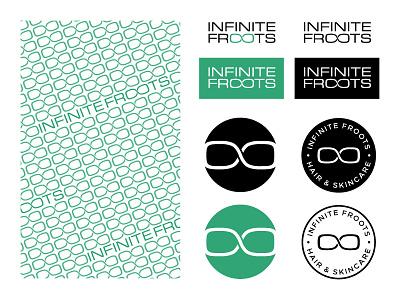 Infinite Froots Branding wordmark symbol skincare hair type minimal modern pattern branding design beauty health design typography badge identity logo branding mikemerrilldesign