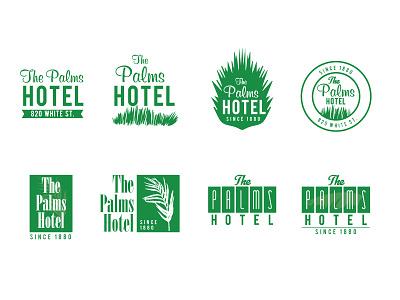 The Palms Logo Options sans script serif retro floral mikemerrilldesign 1color key west hotel palms branding logo