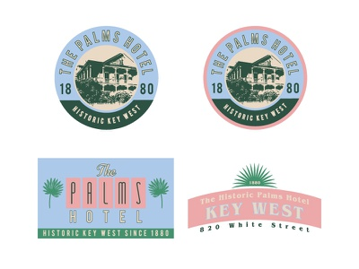 The Palms Logo Options   Batch 2 palms retro tropical key west cmyk branding hotel badge florida floral mikemerrilldesign logo