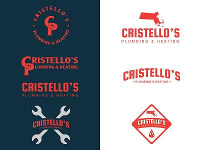Cristello's Plumbing Logo Options plumber 1color lettering logos massachusetts typography ma mikemerrilldesign plumbing boston branding logo