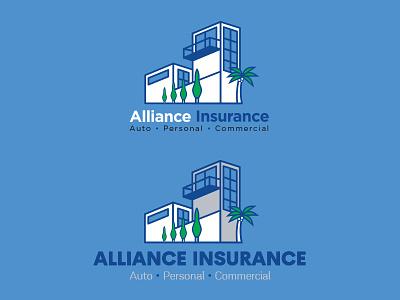 Alliance Insurance Logo 3d architecture plant modern palm insurance mikemerrilldesign tree building commercial branding logo