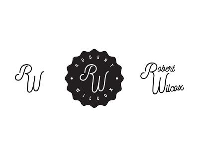 Robert Wilcox Logo letters black monogram initials 1color mikemerrilldesign blackandwhite stamp badge script type logo