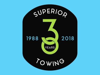 Superior Towing Badge towing patch superior years 30 mikemerrilldesign badge