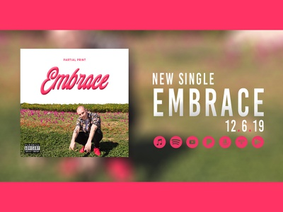 Embrace Single Banner partialprint coverart artwork icons floral script mikemerrilldesign music single banner