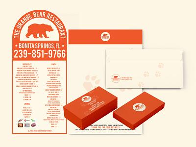 OrangeBearBranding bear mikemerrilldesign letterhead envelope die cut menu business card kit branding