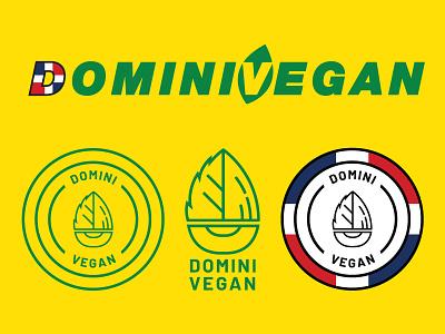 DominiVegan Branding 1color brand identity brand dominican flag food mikemerrilldesign badge logo branding vegan